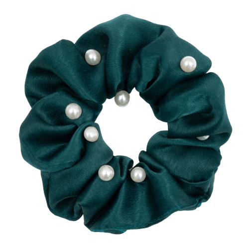 Satin flaskegrøn Scrunchie med perler