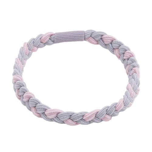 Flettet hårelastik i rosa og støvet lilla