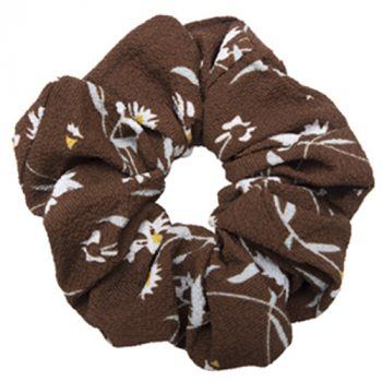 Brun crepe scrunchie med blomster