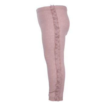 Pale Mauve Angelica leggings i merino uld med flæsekant
