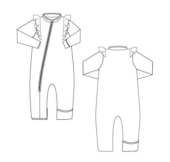 Enya køredragt i merino uld fleece med flæser
