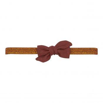 Elastik hårbånd med lille kanel farvet Klara hør sløjfe