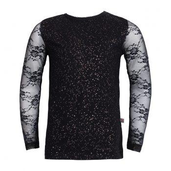 Maja bluse med blonde ærmer i sort glitter