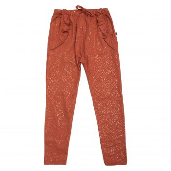 Saga Frill Pants i autumnal med kobber glitter